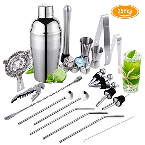 YOMYM Set Cocktail 25 Pezzi, Set Cocktail Professionale,Compreso 5 Whisky Stones in Acciaio Inox,Set...