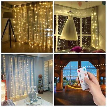 SALCAR 3M 300 LEDs Rideau de Lumière de Noël avec 8 Modes, LED Guirlande Lumineuse IP44 Etanche, Corde Lumineuse LED Décoration dans Salon Jardin Balcon pour Mariage Anniversaire Fête(Blanc Chaud)