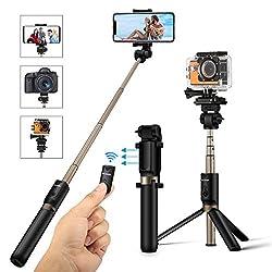 Kaufen Selfie Stick Stativ mit Fernbedienung, BlitzWolf 4 in 1 Verstellbare Selfie-Stange Stab Monopod für Gopro Kamera iPhone X/ 8/ 7/ 7 plus/ 6s/ 6/ 5s Android Samsung und die meisten Smartphones, Ausfahrbar 360° bis zu 68 cm Verlängerbar (Schwarz)