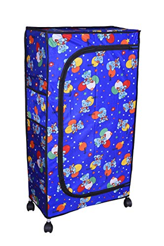 Flipzon Multipurpose 6 Fabric Shelf Baby Wardrobe, Foldable (Blue)