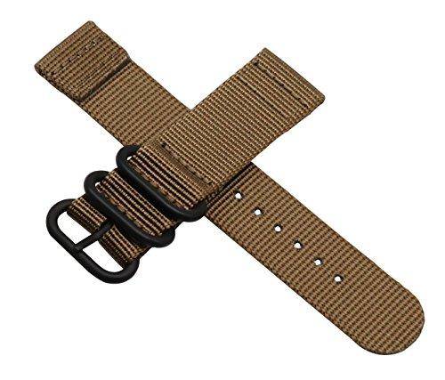22 millimetri kaki Premium Deluxe della fascia dell'orologio braccialetto stile NATO classico di nylon morbida tela di sport degli uomini