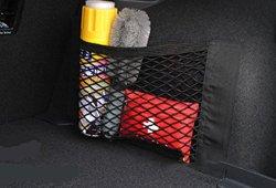 Organisateur Coffre Voiture en Maille 4 Crochets + 2pcs Filet Coffre Sac de Rangement en Maille Elastique avec Velcro à Scratcher Amovible pour Siège Bagage Courses Magasin en ligne