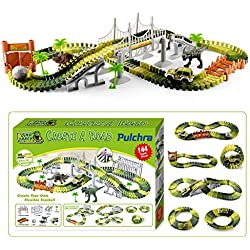 Pulchra Dinosaur Toys Set Car Race Track Set 144Pcs, tipo combinado y desmontable DIY Road Pistas flexibles Modelo creativo Track Play Set Juego de carreras para niños