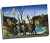 Salvador Dali Swans Reflecting Elephants Canvas Print Wall Art Picture Canvas Prints Large A1 30 X 20 Inches (76.2Cm X 50.8Cm)