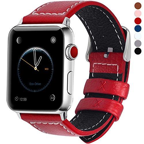 Fullmosa Compatibile Cinturino per Apple Watch 38mm/40mm e 42mm/44mm,7 Colori LC-Jan Pelle Cinturino/Cinturini di Ricambio per Apple Watch,per iWatch Series 5,4,3,2,1, Rosso