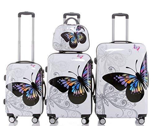 Maleta de Viaje 2060,rígida, en 12 Motivos, XL, L, M Butterfly 4er Set(XL+L+M+S)