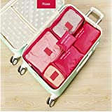 Custodia da viaggio organizer clothes Storage Bags PACKING Cube 6pcs un set, Rose, as description