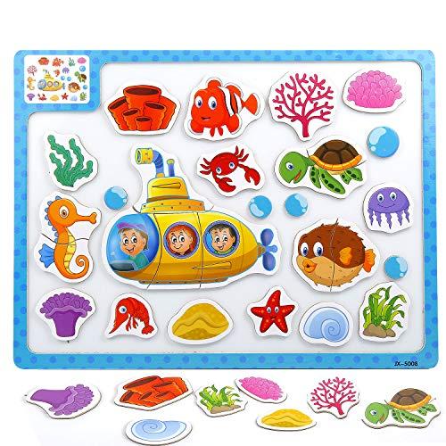 Czemo Puzzle Magnetico Bambini Giocattolo di Legno Puzzle Magnetico Blocchi Puzzle di Legno Giochi...