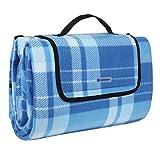 SONGMICS - Coperta da Picnic XXL in Pile con Maniche, Impermeabile, con Maniglia, 200 x 200 cm, Quadrati Blu a Righe