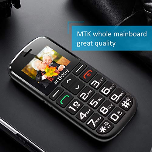 Artfone GSM téléphone Senior Portable Débloqué avec Grandes Touches, Bouton SOS, 1400mAh Batterie 7