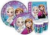 Ciao Y2499 - Kit Party Festa in Tavola Disney Frozen per 24 Persone 112 Pezzi: 24 Piatti Grandi, 24 Piatti Medi, 24 Bicchieri, 40 Tovaglioli)