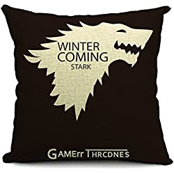 Poens Dream Funda de Coj'n, Game of Thrones Winter is Coming Cotton Linen Decorative Throw Pillow Case Cushion Cover, 17.7 x 17.7inches