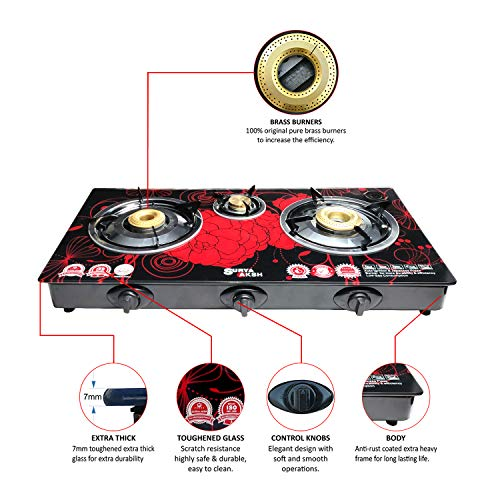 DIGISMART Surya Aksh Auto Ignition 3 Burner Top Glass 7MM Gas Stove (Red)