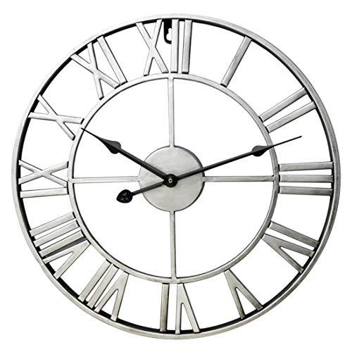 DAN DISCOUNTS 60cm Orologio da Parete Vintage,XXL Orologio da Parete Grandi Orologio da Parete Numeri Romani Orologio da Parete Silenzioso Orologio Parete Metallo - Argento