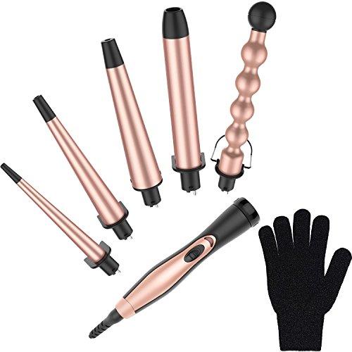 Bestope - Set di ferri arricciacapelli 5-in-1 in oro rosa con 5 cilindri intercambiabili in ceramica...