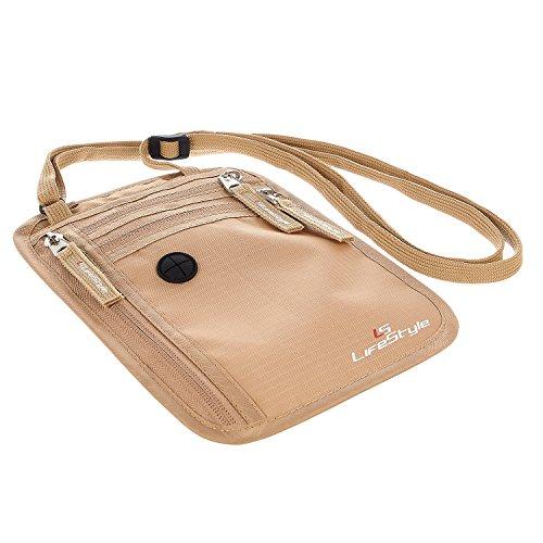 LS Lifestyle Premium Neck Wallet RFID Blocking Hidden Travel Pouch Passport Holder - Sand - Mens - One Size
