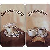WENKO 2521280100 Herdabdeckplatte Universal Kaffee, 2er Set, für alle Herdarten, Gehärtetes Glas, 30 x 52 cm, Mehrfarbig