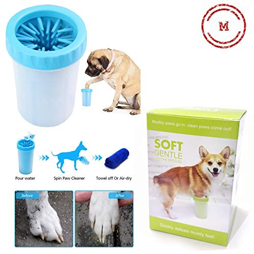 Petlicious & More Dog Paw Cleaner, Portable Washer Cleaning Brush Cup for Wash Away Sediment (Medium) - Color May Vary