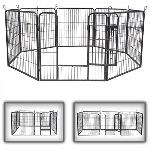 zoomundo Recinto per Cani Recinzione Box Cani Conigli Animali di Ferro Cucciolo Gabbia - 8 Pezzi - L