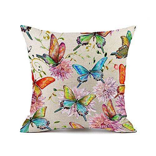 Redland Art Vistoso Mariposa Flores Patrón Algodón Lino sofá Fundas Cojines Almohada Caso Amortiguar Cubrir Casa Decoración Regalos 45x45cm
