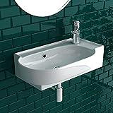 bad1a Handwaschbecken Mini Waschtisch Weiß Keramik-Waschbecken 45cm mit Überlauf |WC-Waschbecken klein Gästebad Hängewaschbecken| Wandmontage, Badezimmer| Oval Italienisches Design