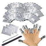 200PCS Remover Foil Wraps del Rimuovere smalto gel per Unghie, Fogli di Alluminio per Rimuovere lo Smalto ?Nail wraps di tamponi di cotone privi di pelucchi riempimento