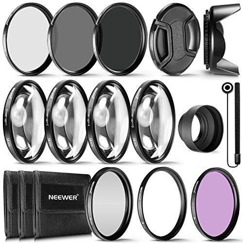 Neewer, Kit Completo di Filtri per Obiettivi di 58 mm, Filtro UV, Polarizzatore, Fluorescente + Filtri per Macro (+1, +2, +4, + 10) + Set di Filtri a Densità Neutra (ND2, ND4, ND8) + Altri
