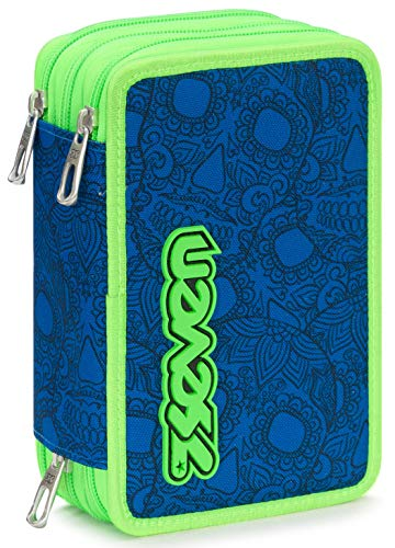 Astuccio 3 Zip Seven Colorsnake, Blu, Con materiale scolastico: 18 pennarelli Giotto Turbo Color, 18...
