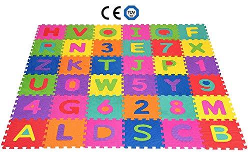 SPARGOX Tappeto Bambini Puzzle con Lettere e Numeri - 36 Pezzi | con Sacca Riutilizzabile...