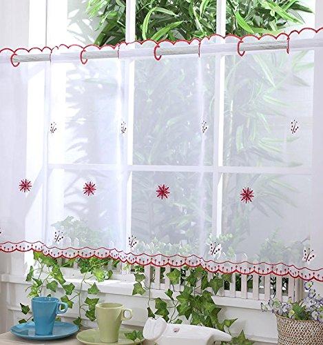 """Voile cortina de visillo paneles–D17–rojo Mariposa–24""""–Cortinas para Cocina"""