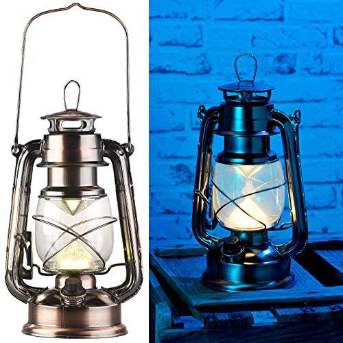 Lunartec LED Laterne: Ultra helle LED-Sturmlampe, Batterie, 200lm, 3W, warmweiß, Bronze (Dimmbare LED-Sturmlampe)