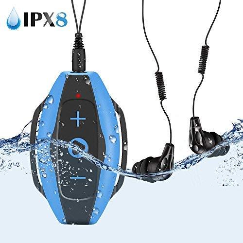 Mp3 Acuatico 8GB, AGPTEK S05 Waterproof Clip Reproductor de MP3 con Auriculares Impermeable IPX8 para Natar y otros deportes, Color Azul