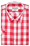 Arihant Men's Half Sleeves Checkered 100% Cotton Regular fit Formal Shirt (AR74000544_Red_Size:44)