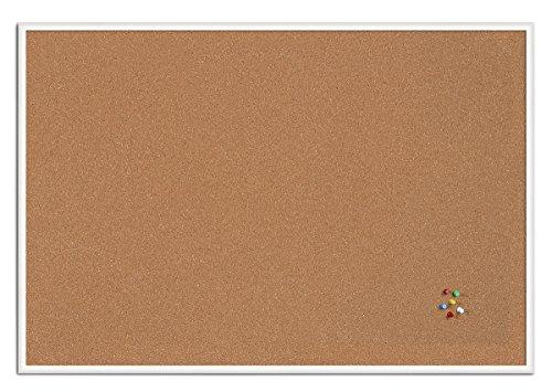 Bi-Office bacheca New Basic, Lavagna in sughero con cornice in MDF, 885x585 mm, Telaio Bianco