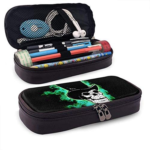 Halloween Scary Horror Green Skull Pencil Case Pouch Large Capacity Pen Bag Double Zippers...