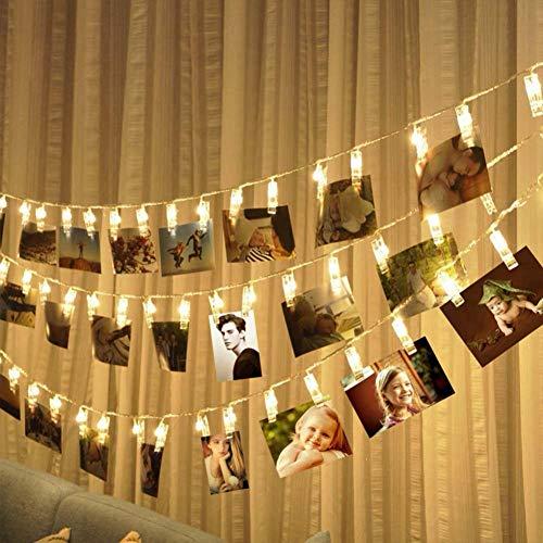 30 luci a LED per fotografie, luce bianca calda, 3 m, con illuminazione a batteria, decorazione da...