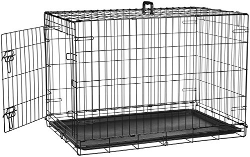 AmazonBasics - Gabbia in metallo richiudibile, per cani, Portiera Singola - Medio