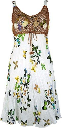 GURU-SHOP, Mini Vestido Boho, Vestido Verano Mariposa, Vestido Arrugado, Blanco, Sintético, Tamaño:38, Vestidos Cortos