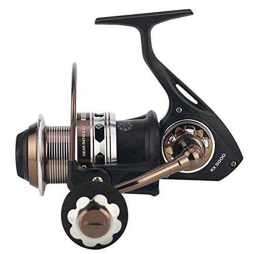 Mulinello da pesca Spinning Mulinello da pesca a mosca con sistema di freni a doppia frizione anteriore e posteriore Bait Runner Reel 13 + 1 in acciaio inox con impugnatura intercambiabile sinistra de