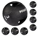 Medizinball mit Griffen Profi 3 - 10 kg von POWRX | schwarz Gewichtsball Studioqualität | schwarz (10 kg)