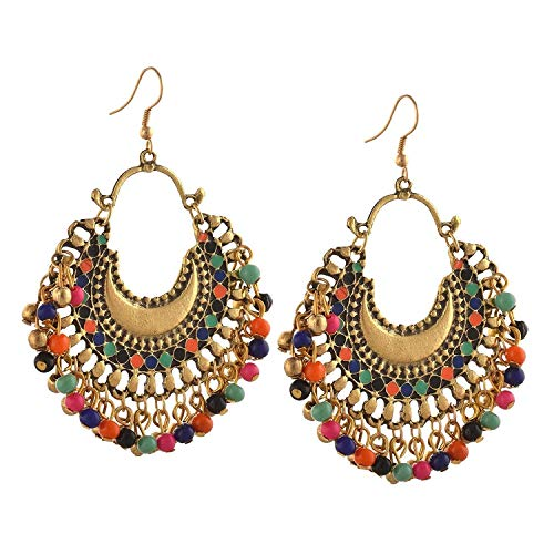 Tiaraz Fashion German Silver Beaded Chandbali Hook Earrings Jewellery for Women (Gold)
