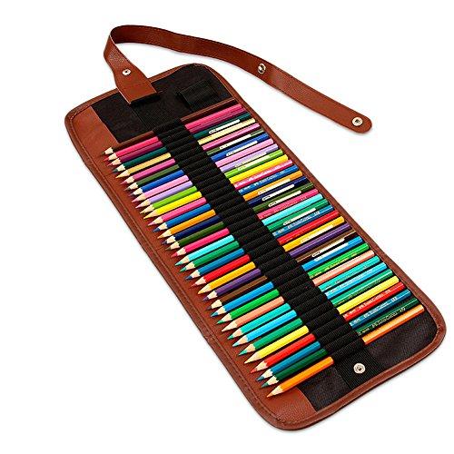Tela matita Wrap roll Up matita della penna Holder borsa custodia inclusa 60 Slots