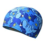 Moolecole Children Cute Animal Swimming Cap Kids Pool Ear Cover Swimming Hats Blue Shark
