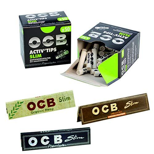 OCB Activ Tips Aktivkohle Filter Bundle Set 2x50 Stück inkl. 3 Heftchen OCB Schwarz Slim, Organic und Unbleached Gratis