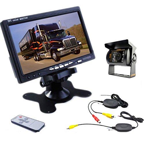 Camecho RC 12V-24V Truck Rear View Wireless IR Night Vision Backup Camera Kit + 7' 7 Inch TFT LCD Rear view Monitor Waterproof For Truck / Van / Caravan / Trailers / Campers PAL&NTSC High Solution 420 TVL