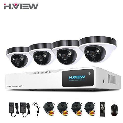 1080P Überwachungskamera System H.View 4CH AHD DVR ohne Festplatte und 4 Außen 1080P Dome Überwachungskamera Set für Innen und Außen Bewegungsmelder IR Nachtsicht