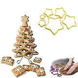 Ouken Herramientas 3D Christmas Tree Galletas Cortadores de Galleta de Jengibre Juego de cortadores de la Galleta de la Estrella de la Galleta Cortadores de Calcinación Conjunto de 1