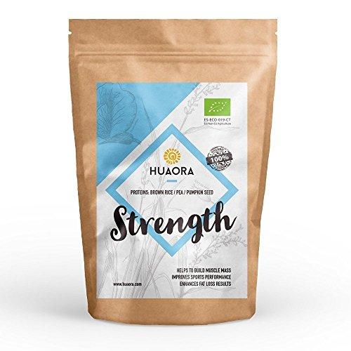 Huaora - Strength, Proteína Vegana Ecológica en Polvo, 250gr | Mix de Proteínas Vegetales Orgánicas | Certificado Orgánico - Sin Alergenos, Sin Lactosa, Sin Aditivos Artificiales