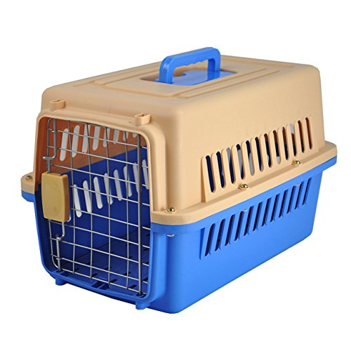 Pinkdose® Blue, 48X32X30Cm: Petminru Pet Air Box Plane Transport Box Portable Cat Dog Carrier Outgoing Travel Teddy Packets Breathable Small Pet Handb