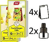 PIC - Fruchtfliegenfalle, Obstfliegenfalle und Essigfliegenfalle - 4 Leimfallen mit 2 Lockstoffbehältern - Mittel um Fruchtfliegen zu bekämpfen - Geeignet für die Küche